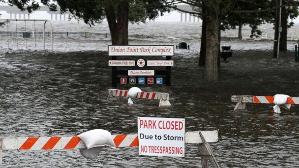 PHOTO: Union Point Park is flooded with rising water from the Neuse and Trent Rivers in New Bern, N.C. Sept. 13, 2018. (Gray Whitley/Sun Journal via AP)
