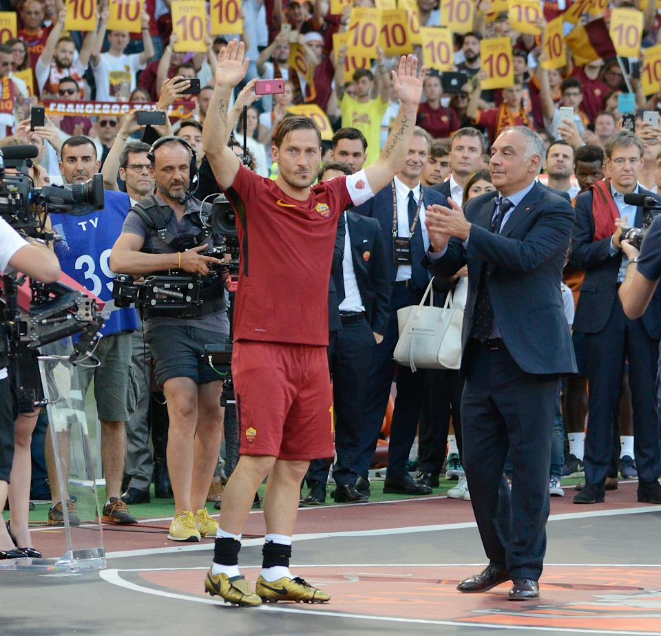 Francesco Totti, James Pallotta during the Italian Serie A football match between A.S. Roma and F.C. Genoa at the Olympic Stadium in Rome, on may 28, 2017. (Photo by Silvia Lore/NurPhoto via Getty Images) (Photo: NurPhoto via Getty Images)
