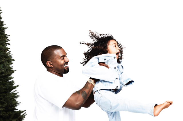 <p>A smiling Kanye and gleeful North have fun in the Day 18 reveal. (Photo: Eli Russell Linnetz/Kim Kardashian via Twitter) </p>