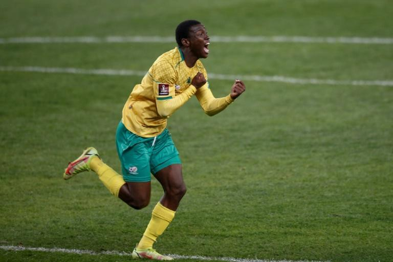 South Africa forward Bongokuhle Hlongwane celebrates scoring the only goal of a World Cup qualifier against Ghana in Johannesburg on Monday (AFP/PHILL MAGAKOE)