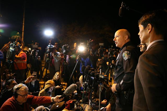 <p>Austin assistant police chief Ely Reyes addresses the media regarding an incident that law enforcement personnel said involved an incendiary device in the 9800 block of Brodie Lane in Austin, Texas, March 20, 2018. (Photo: Loren Elliott/Reuters) </p>