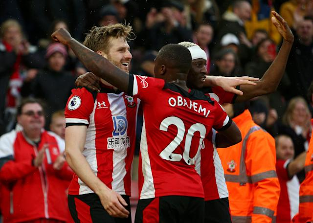 Southampton players celebrate their win over Aston Villa: Getty Images