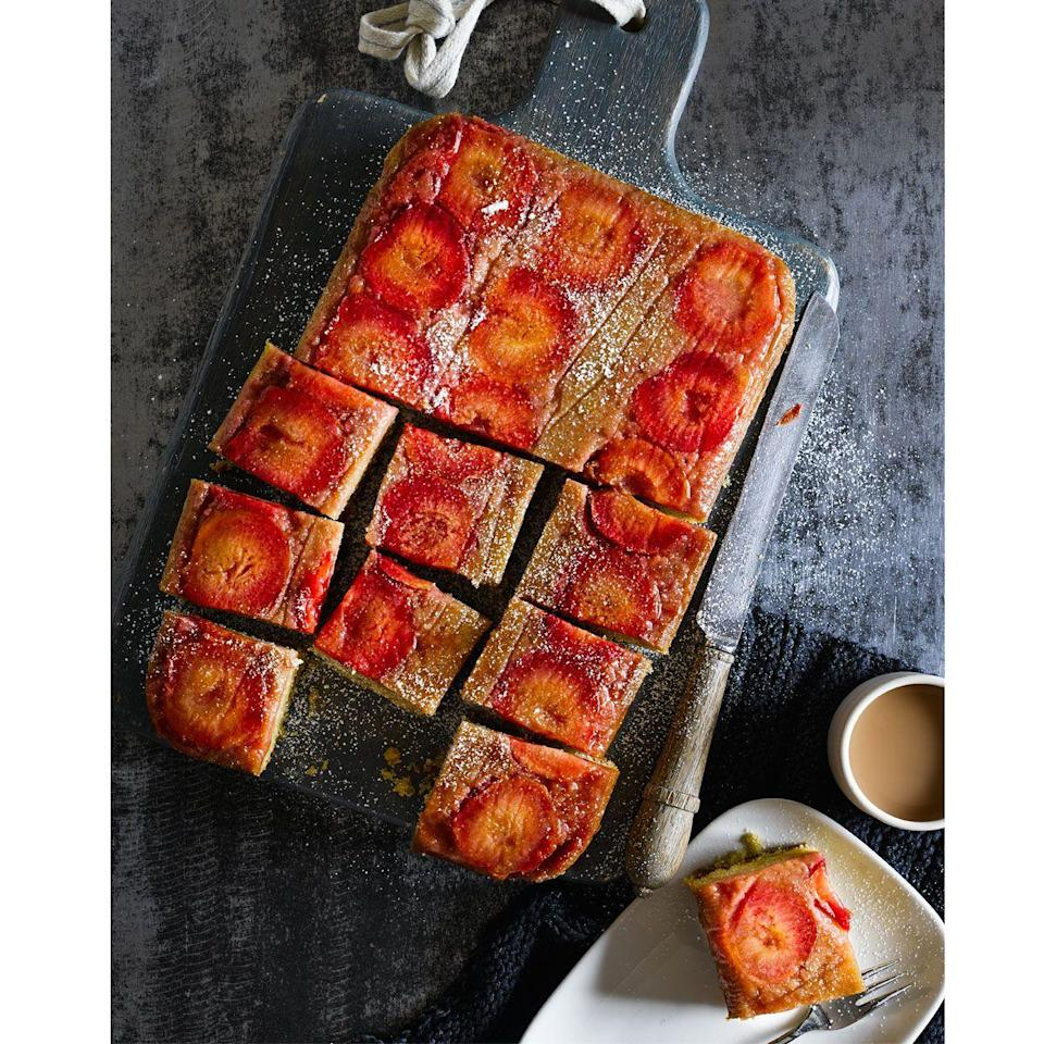 """<p>Serve this tray bake cake recipe at room temperature with a cup of tea, or warm with ice cream for a comforting dessert.</p><p><strong>Recipe: <a href=""""https://www.goodhousekeeping.com/uk/food/recipes/a557204/plum-and-almond-tray-bake/"""" rel=""""nofollow noopener"""" target=""""_blank"""" data-ylk=""""slk:Plum and Almond Tray Bake"""" class=""""link rapid-noclick-resp"""">Plum and Almond Tray Bake</a></strong></p>"""
