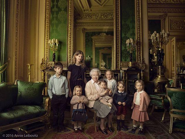 The Queen with her five great-grandchildren and two youngest grandchildren. Photo: Facebook
