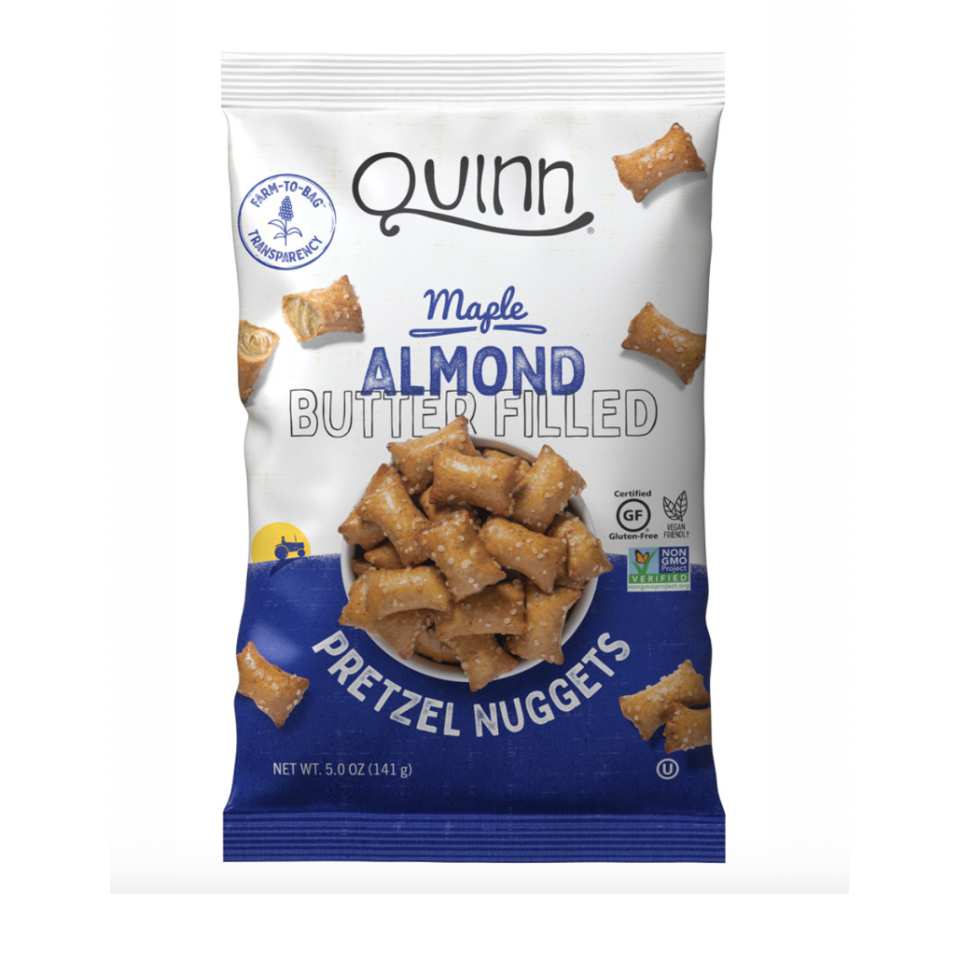 "<p><strong>Quinn</strong></p><p>Whole Foods</p><p><strong>$5.49</strong></p><p><a href=""https://www.quinnsnacks.com/snacks/pretzels/maple-almond-butter-filled-nuggets/"" rel=""nofollow noopener"" target=""_blank"" data-ylk=""slk:Shop Now"" class=""link rapid-noclick-resp"">Shop Now</a></p><p>The newest addition to the Quinn family, these Certified Gluten-Free and Non-GMO Project Verified pretzel nuggets make a satisfying snack. <strong>Most flavored pretzel varieties use honey, but this choice is lightly sweetened with Vermont maple syrup making them totally vegan</strong>. We like that this yummy snack is crunchy on the outside and features creamy almond butter on the inside.</p>"
