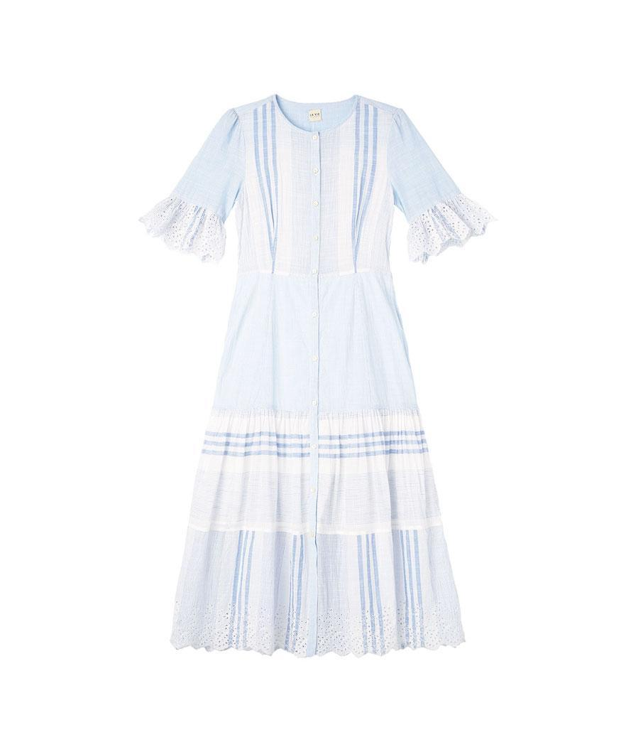 "<p>La Vie Variegated Stripe Dress, $350, <a href=""http://www.rebeccataylor.com/la-vie-variegated-stripe-dress/317134D377.html?dwvar_317134D377_color=BLUECO&cgid=dresses-and-jumpsuits"" rel=""nofollow noopener"" target=""_blank"" data-ylk=""slk:rebeccataylor.com"" class=""link rapid-noclick-resp"">rebeccataylor.com</a> </p>"