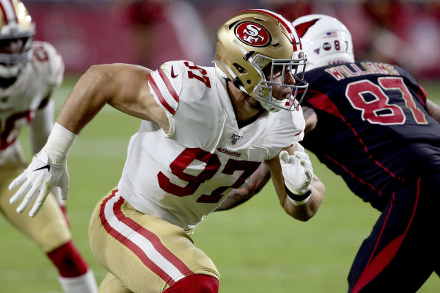 San Francisco 49ers defensive end Nick Bosa (97) runs a play against the Arizona Cardinals during the first half of an NFL football game, Thursday, Oct. 31, 2019, in Glendale, Ariz. (AP Photo/Ross D. Franklin)
