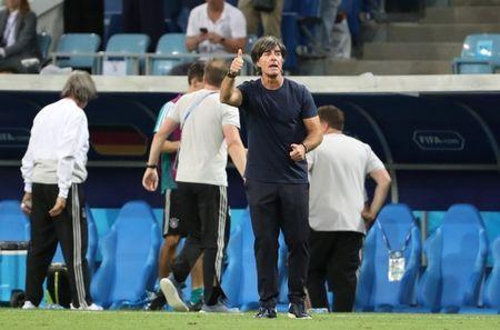Soccer Football - World Cup - Group F - Germany vs Sweden - Fisht Stadium, Sochi, Russia - June 23, 2018 Germany coach Joachim Low celebrates their second goal REUTERS/Francois Lenoir