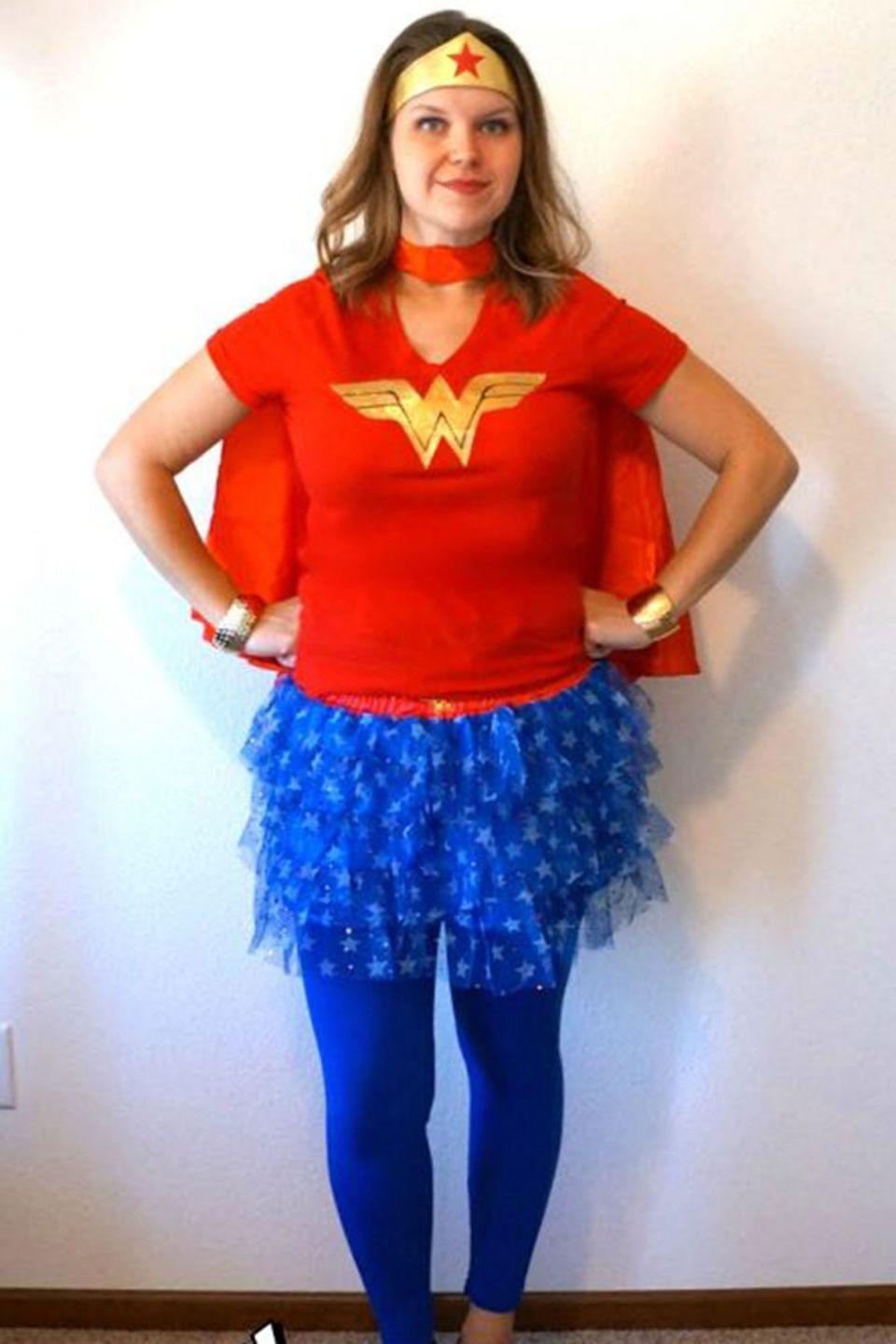 """<p>This super-easy DIY costume will definitely save the day. </p><p><strong>Get the tutorial at <a href=""""http://www.creativeramblingsblog.com/wonder-woman-inspired-costume/"""" rel=""""nofollow noopener"""" target=""""_blank"""" data-ylk=""""slk:Creative Ramblings"""" class=""""link rapid-noclick-resp"""">Creative Ramblings</a>.</strong></p><p><strong><a class=""""link rapid-noclick-resp"""" href=""""https://www.amazon.com/Rubies-Costume-Womens-Superheroes-Wonder/dp/B00UAD6HWC/?tag=syn-yahoo-20&ascsubtag=%5Bartid%7C10050.g.4571%5Bsrc%7Cyahoo-us"""" rel=""""nofollow noopener"""" target=""""_blank"""" data-ylk=""""slk:SHOP CAPE"""">SHOP CAPE</a></strong></p>"""