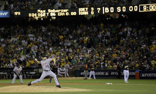Detroit Tigers pitcher Max Scherzer (37) delivers a pitch in the seventh inning of Game 1 of the American League baseball division series against the Oakland Athletics in Oakland, Calif., Friday, Oct. 4, 2013. (AP Photo/Marcio Jose Sanchez)