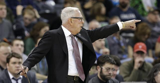 San Diego State coach Steve Fisher motions to his players in the first half against New Mexico State during a second-round game of the NCAA men's college basketball tournament in Spokane, Wash., Thursday, March 20, 2014. (AP Photo/Elaine Thompson)