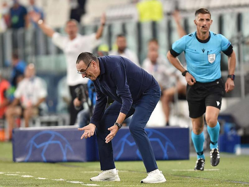 Maurizio Sarri during Juventus's Champions League second leg with Lyon: EPA