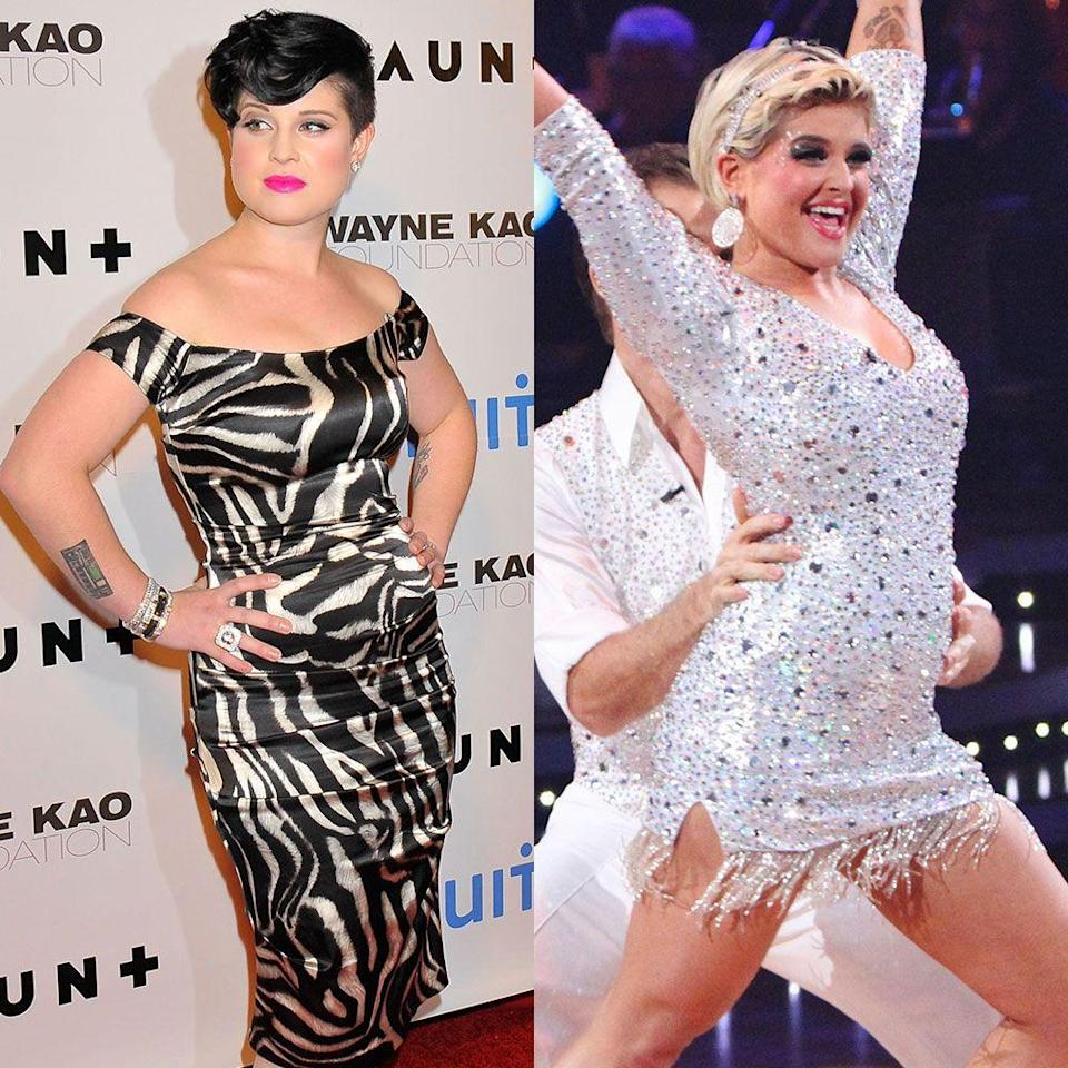 """<p>The reality star lost 20 pounds while competing on season 9 with her partner Louis van Amstel in 2009. """"Louis van Amstel and <em>Dancing With the Stars</em> changed my life, as cheesy and cliché as that sounds,"""" she told <a href=""""http://www.accessonline.com/articles/kelly-osbourne-thanks-fans-for-her-new-body-talks-bristol-palin-on-dancing-92393/"""" rel=""""nofollow noopener"""" target=""""_blank"""" data-ylk=""""slk:Access Hollywood"""" class=""""link rapid-noclick-resp""""><em>Access Hollywood</em></a>.</p><p>In the very beginning, it wasn't easy. """"I kept getting sick during rehearsals because I was eating such terrible, fatty food and feeling so exhausted,"""" Kelly told <em>Shape</em>. Louis helped her find nutritious foods to fuel her dancing practice. """"He made me eat turkey burgers and salads and explained to me that a high-protein, low-carb diet would keep me energized,"""" she told the publication. """"Then I started losing weight and realized, 'Oh, it's true what they say: Diet and exercise really work!'""""</p>"""