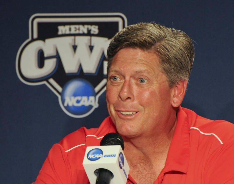 Stony Brook coach Matt Stenk speaks during the coaches news conference at TD Ameritrade Park in Omaha, Neb., Thursday, June 14, 2012. Stony Brook will play against UCLA on Friday in an NCAA College World Series baseball game. (AP Photo/Eric Francis)
