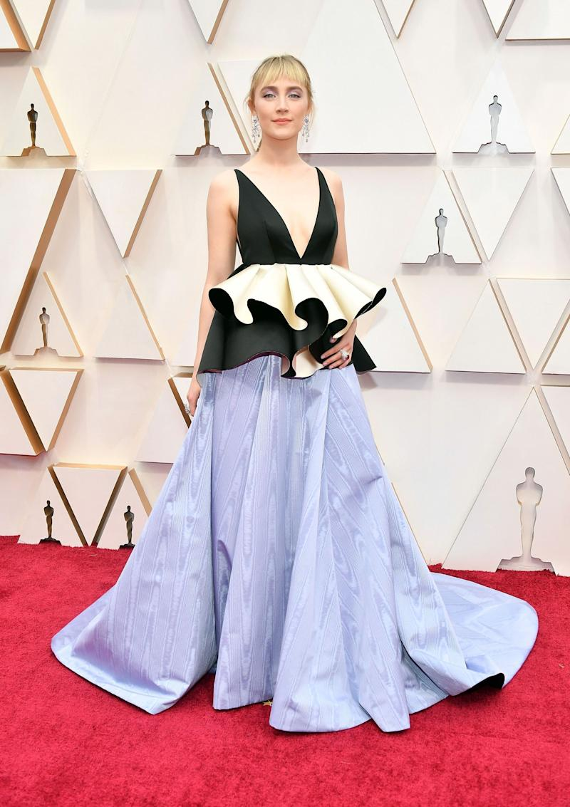 """IsSaoirse Ronan attempting some kind of perfomance art about how """"Little Women"""" has been overlooked in the directing category and by other awards show? Because if so, she's totally right, but that's the only way we can make sense of this dress."""