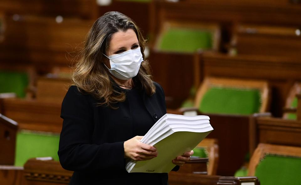 Finance Minister Chrystia Freeland delivers the 2020 fiscal update in the House of Commons on Parliament Hill in Ottawa on Nov. 30, 2020. (Photo: CP/Sean Kilpatrick)