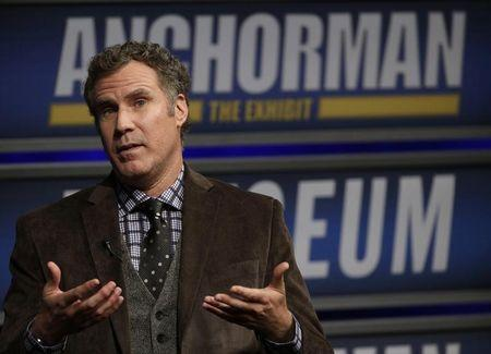 """Actor Will Ferrell speaks while being interviewed by Washington Post film critic Ann Hornaday at the Newseum during an event for """"Anchorman2: The Legend Continues"""" in Washington"""