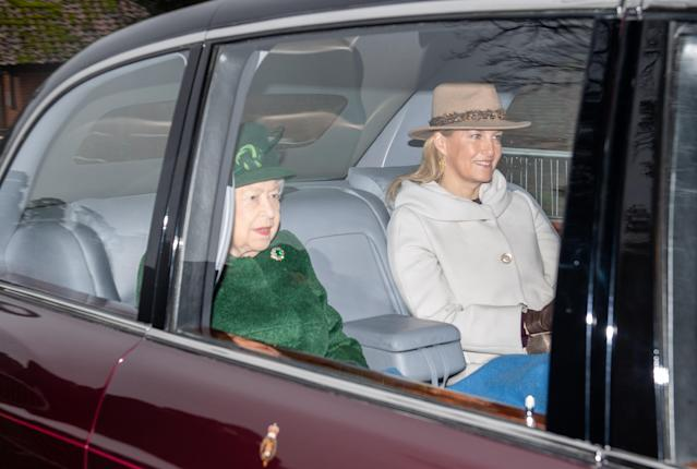 Queen Elizabeth II and The Countess of Wessex attend a church service at St Mary Magdalene Church in Sandringham, Norfolk. (Getty Images)