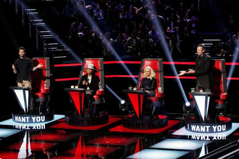 """Adam Levine, Pharrell Williams, Christina Aguilera and Blake Shelton compete for contestants during the Season 8 premiere of """"The Voice."""""""