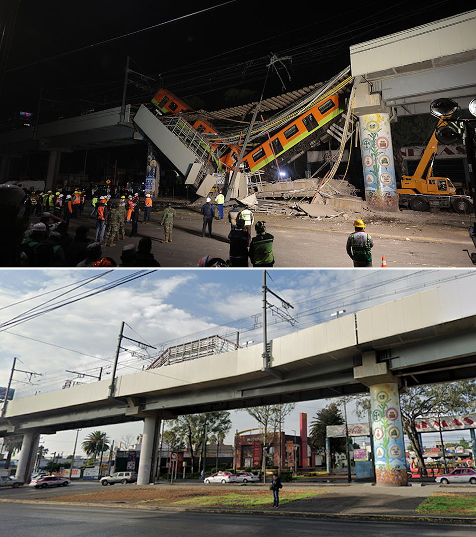 Composite picture showing images before and after and after the accident