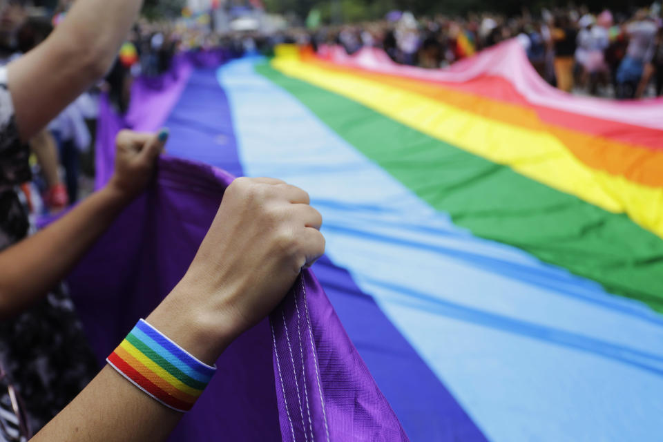 Revelers at the annual gay pride parade hold up a giant rainbow flag in Sao Paulo, Brazil, Sunday, June 3, 2018. This year the parade focused on the general elections scheduled for October, with the theme