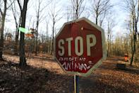 A stop sign is pictured in the Hambach Forest
