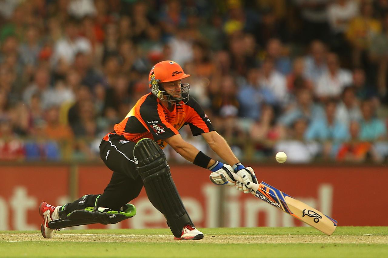 PERTH, AUSTRALIA - DECEMBER 09:  Michael Hussey of the Scorchers bats during the Big Bash League match between the Perth Scorchers and Adelaide Strikers at WACA on December 9, 2012 in Perth, Australia.  (Photo by Paul Kane/Getty Images)