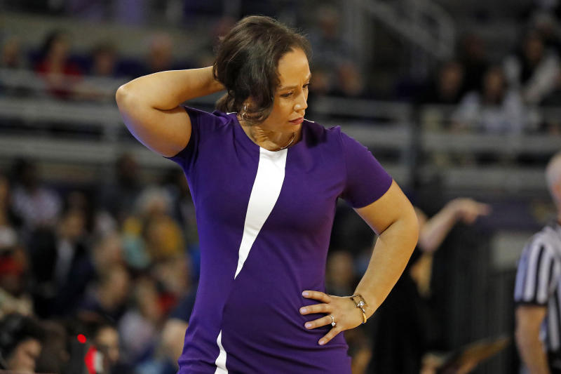 East Carolina head coach Kim McNeill reacts during the first half of an NCAA college basketball game against Connecticut, Saturday, Jan. 25, 2020 in Greenville, N.C. (AP Photo/Karl B DeBlaker)