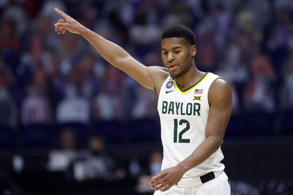 INDIANAPOLIS, INDIANA - APRIL 03: Jared Butler #12 of the Baylor Bears reacts in the second half against the Houston Cougars during the 2021 NCAA Final Four semifinal at Lucas Oil Stadium on April 03, 2021 in Indianapolis, Indiana. (Photo by Jamie Squire/Getty Images)