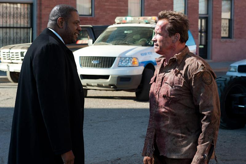 """This undated publicity photo released by Lionsgate shows Forest Whitaker, left, as Agent John Bannister, and Arnold Schwarzenegger, as Ray Owens, in a scene from the film, """"The Last Stand."""" (AP Photo/Lionsgate, Merrick Morton)"""