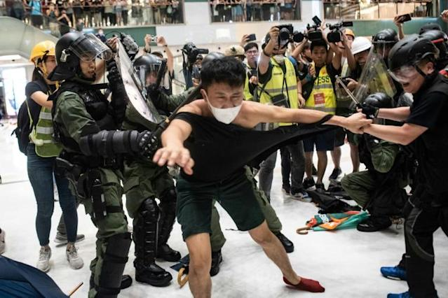 Riot officers battled protesters inside a Hong Kong shopping mall (AFP Photo/Philip FONG)
