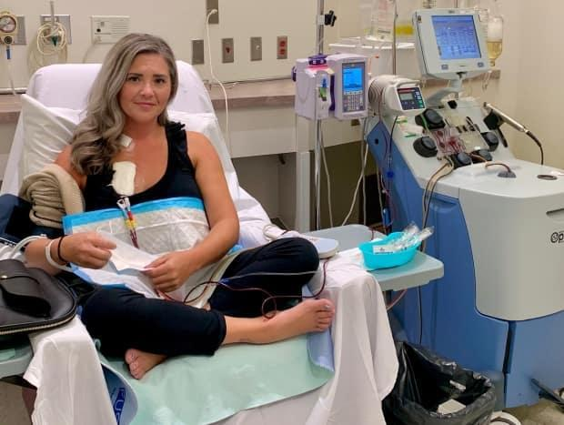 Krystal Graham, who is on a waitlist for a liver transplant, is being treated with plasmapheresis, which swaps unhealthy plasma with new plasma or a substitute. (Submitted by Krystal Graham - image credit)