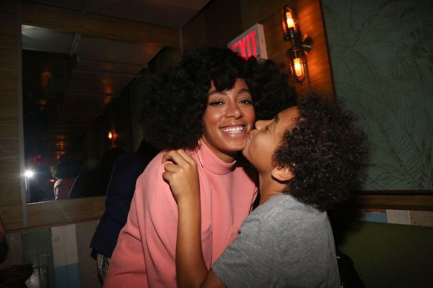 Solange Knowles and her son Julez at Baby's All Right, a venue in Brooklyn, New York, on May 4, 2014. (Photo: Johnny Nunez via Getty Images)