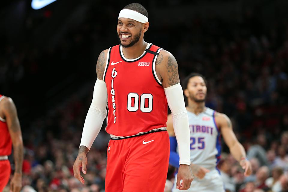 PORTLAND, OREGON - FEBRUARY 23: Carmelo Anthony #00 of the Portland Trail Blazers reacts in the fourth quarter against the Detroit Pistons during their game at Moda Center on February 23, 2020 in Portland, Oregon. NOTE TO USER: User expressly acknowledges and agrees that, by downloading and or using this photograph, User is consenting to the terms and conditions of the Getty Images License Agreement. (Photo by Abbie Parr/Getty Images)