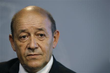 France's Defence Minister Jean-Yves Le Drian attends a news conference in Paris