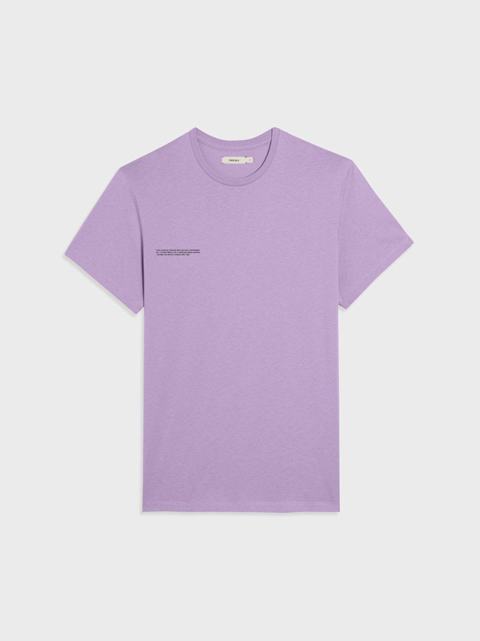 """<p>thepangaia.com</p><p><strong>$55.00</strong></p><p><a href=""""https://thepangaia.com/collections/men-t-shirts/products/pprmint-organic-cotton-t-shirt-orchid-purple"""" rel=""""nofollow noopener"""" target=""""_blank"""" data-ylk=""""slk:BUY IT HERE"""" class=""""link rapid-noclick-resp"""">BUY IT HERE</a></p><p>Pangaia makes the ideal graphic tees with minimalist designs, which are all made as sustainably as possible. We love this lavender for a bright buy, but the brand is always coming out with fun color options. </p>"""