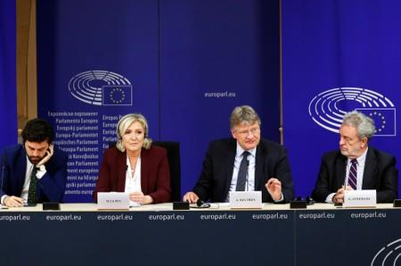 Italian MEP Zanni, French far-right National Rally party leader Le Pen, German MEP Meuthen and Belgian MEP Annemans address a news conference at the EU Parliament in Brussels