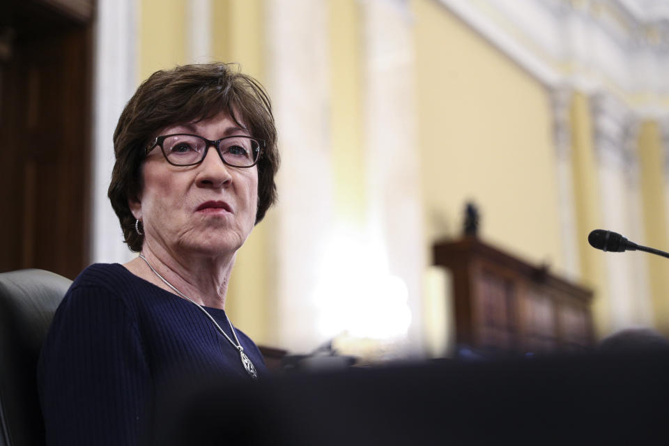 Sen. Susan Collins, R-Maine, listens during a Senate Intelligence Committee hearing on the nomination of William Burns to be director of the Central Intelligence Agency (CIA) on Capitol Hill in Washington, U.S., February 24, 2021. (Tom Brenner/Pool via AP)