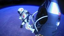 Pilot Felix Baumgartner of Austria jumps out of a capsule during the final manned flight for Red Bull Stratos on Sunday, Oct. 14, 2012. In a giant leap from more than 24 miles up, Baumgartner shattered the sound barrier Sunday while making the highest jump ever - a tumbling, death-defying plunge from a balloon to a safe landing in the New Mexico desert. (AP Photo/Red Bull Stratos)