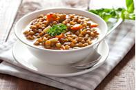 """<p>Women who eat lentils at least twice a week are 24 percent less likely to develop breast cancer than women who eat them less than once a month, studies show. Lentils keep blood sugar steady, and just a quarter cup of these miniature legumes provides 13 grams of protein, 11 grams of fiber, and 5 milligrams of iron. Try them in soups or salads, or as a tasty side.</p><p><strong>Try it: </strong><a href=""""https://www.prevention.com/food-nutrition/recipes/a20486991/italian-lentil-and-broccoli-stew/"""" rel=""""nofollow noopener"""" target=""""_blank"""" data-ylk=""""slk:Italian Lentil and Broccoli Stew"""" class=""""link rapid-noclick-resp"""">Italian Lentil and Broccoli Stew</a></p>"""