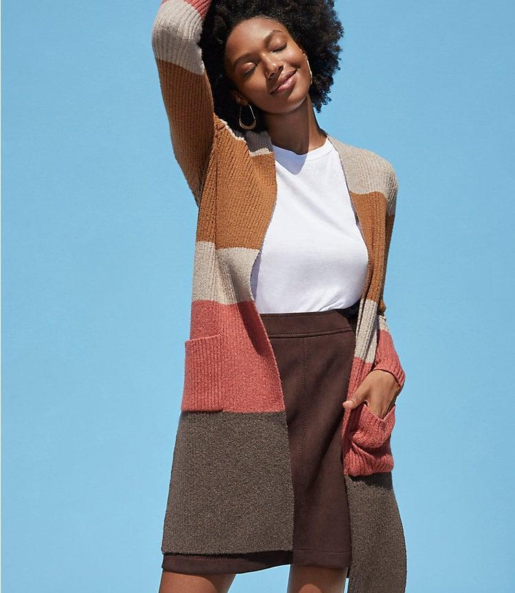 <p>We love the mix of fall-inspired shades on this <span>Loft Colorblock Ribbed Pocket Open Cardigan</span> ($80).</p>