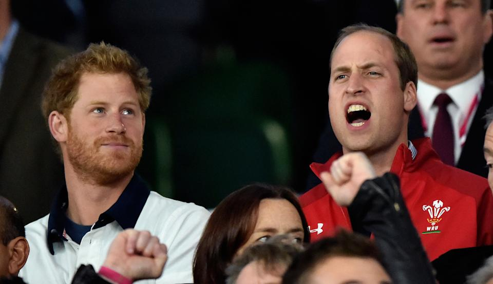 LONDON, UNITED KINGDOM - SEPTEMBER 26: (EMBARGOED FOR PUBLICATION IN UK NEWSPAPERS UNTIL 48 HOURS AFTER CREATE DATE AND TIME) Prince Harry and Prince William, Duke of Cambridge attend the England v Wales match during the Rugby World Cup 2015 at Twickenham Stadium on September 26, 2015 in London, England. (Photo by Max Mumby/Pool/Indigo/Getty Images)