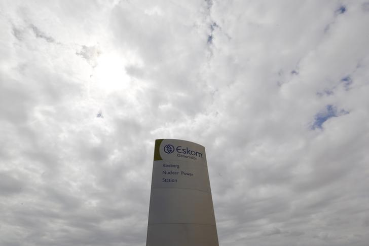 The logo of state power utility Eskom is seen outside Cape Town's Koeberg nuclear power plant