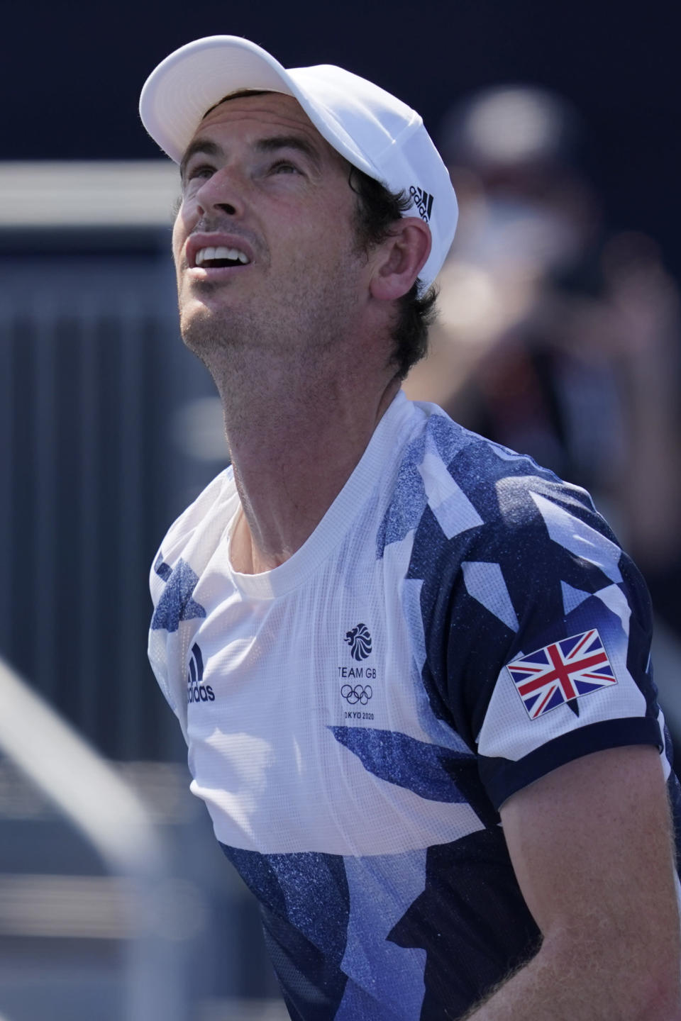 Andy Murray, of Britain, played in a doubles match during the first round of the tennis competition at the 2020 Summer Olympics, Saturday, July 24, 2021, in Tokyo, Japan. (AP Photo/Seth Wenig)