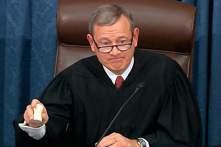 An image taken from video shows Supreme Court Chief Justice John G. Roberts Jr. at the impeachment trial on Thursday.