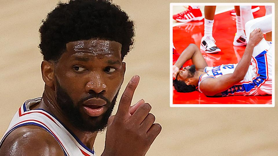 Seen here, Joel Embiid in obvious discomfort against the Atlanta Hawks in the NBA Playoffs.