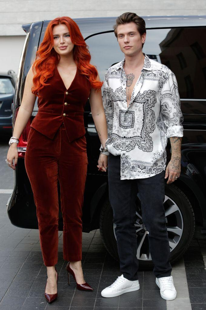 Bella Thorne with fiancé Benjamin Mascolo attend the Etro fashion show during the Milan Fashion Week in Italy on Sept. 23. - Credit: Stefano Costantino/MEGA