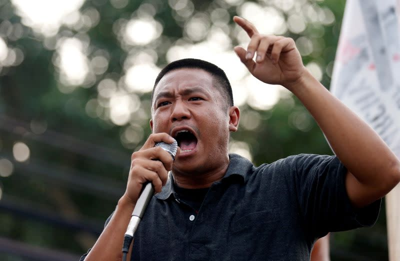 "Pro-democracy protester Jatupat ""Pai"" Boonpattararaksa gives a speech after being released from Bangkok Remand Prison in Bangkok"