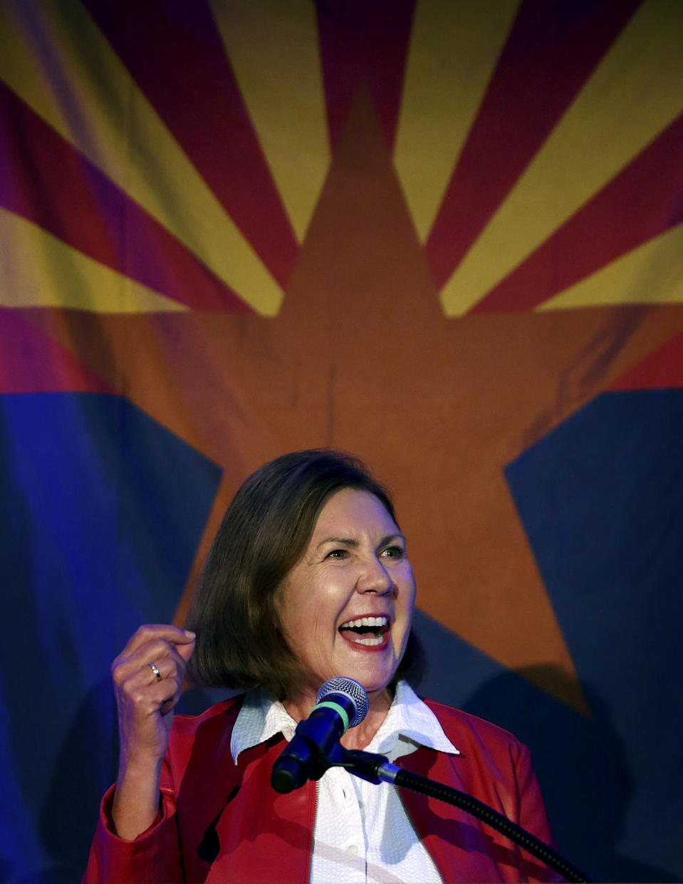 FILE - In this Nov. 6, 2018 file photo, Democrat Ann Kirkpatrick, candidate for Congressional District 2, gives a victory speech during the Pima County Democratic Party Election Night watch party in Tucson, Ariz. Kirkpatrick, a five-term Arizona Democrat, announced Friday, March 12, 2021, she won't run for reelection in 2022 (Mike Christy/Arizona Daily Star via AP, File)