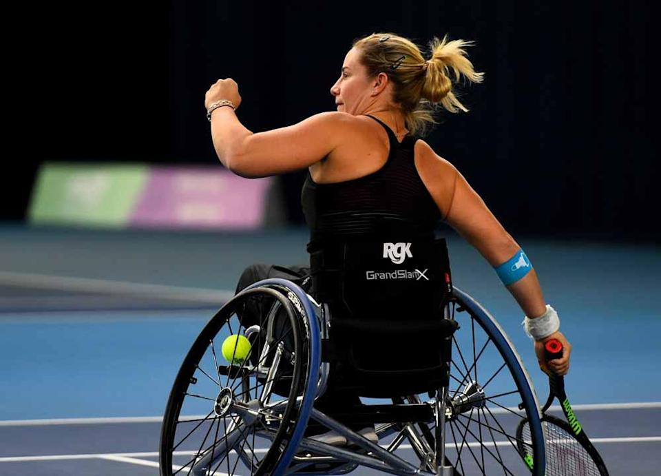 Lucy started playing wheelchair tennis after a motorbike accident left her paralysed from the chest down (Collect/PA Real Life).